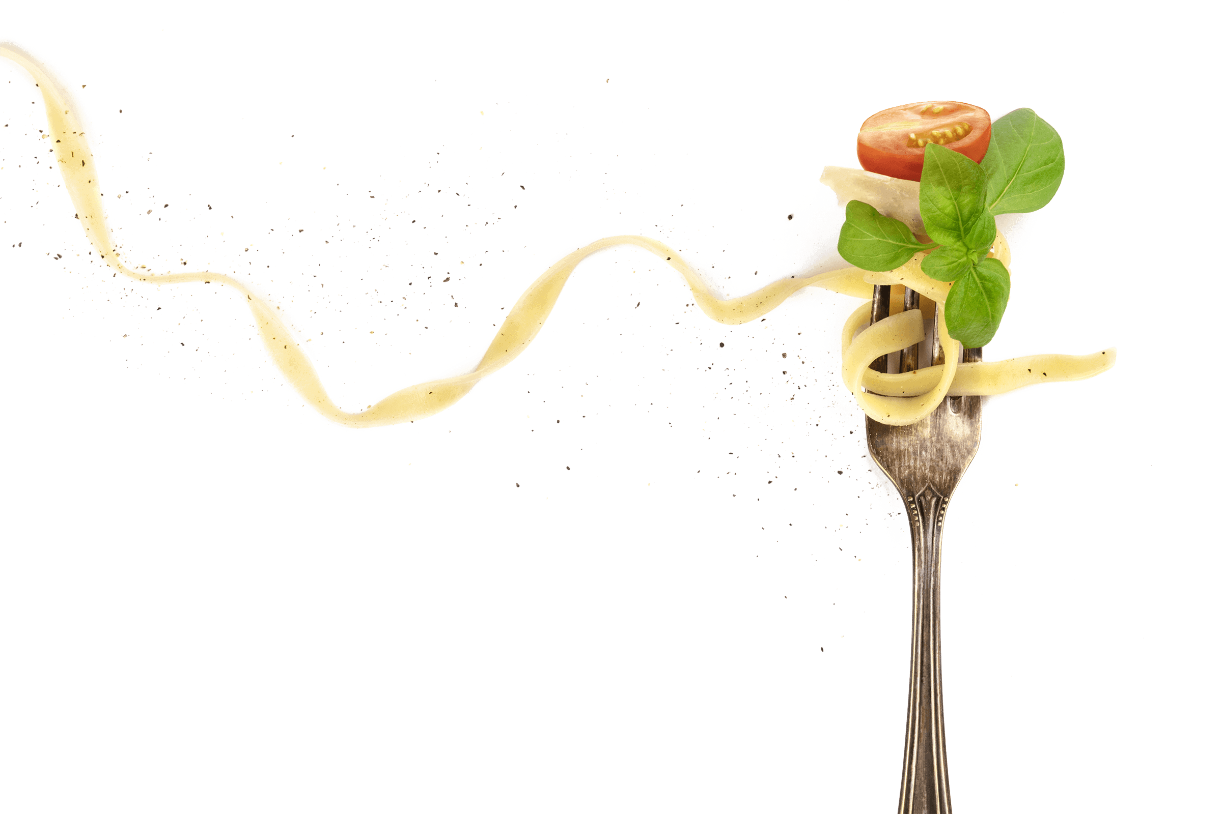 Quadriga Restaurant Gabel mit Nudel, Basilikum & Tomate
